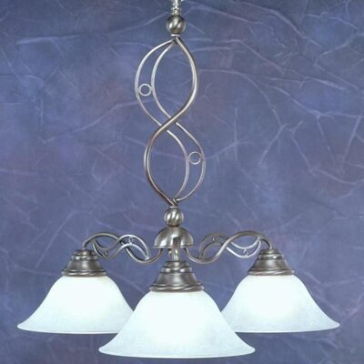 Jazz 3 Light Chandelier with Marble Glass Shade by Toltec Lighting