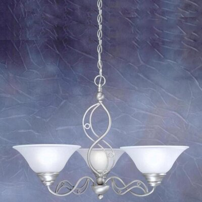 Jazz 3 Up Light Chandelier with Drop Glass Shade by Toltec Lighting