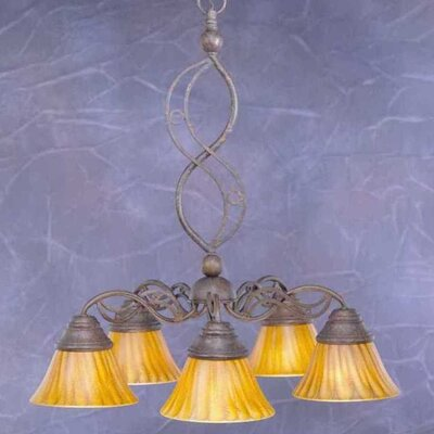 Jazz 5 Light Chandelier with Tiger Glass Shade by Toltec Lighting
