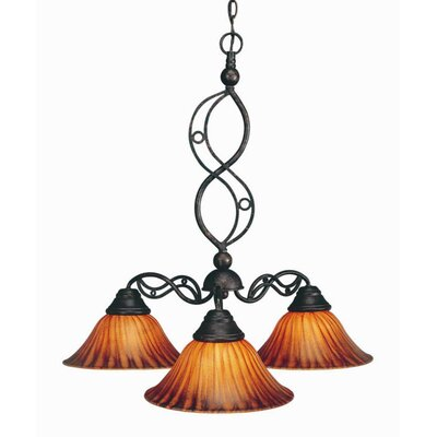 Jazz 3 Light Chandelier with Tiger Glass Shade by Toltec Lighting