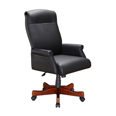 High Black Leather Roll Executive Chair with Arm by DMI Office Furniture