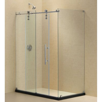 """Enigma-Z 34 1/2"""" by 48 3/8"""" Fully Frameless Sliding Shower Enclosure, Clear 3/8"""" Glass Shower Product Photo"""