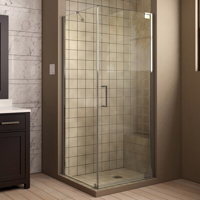 """Elegance 34"""" by 30"""" Frameless Pivot Shower Enclosure, Clear 3/8"""" Glass Shower Product Photo"""