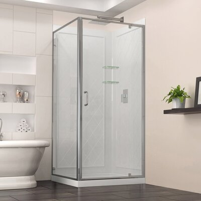 "Flex 32"" W x 76.75"" H x 32"" D Frameless Shower Enclosure, Backwall and Base Kit Hardware Product Photo"