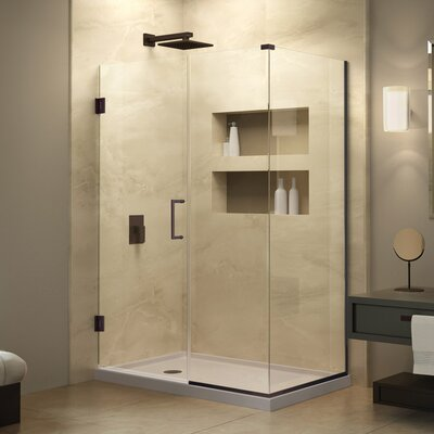 "Unidoor Plus 34"" W x 55.5"" D Hinged Shower Enclosure Product Photo"