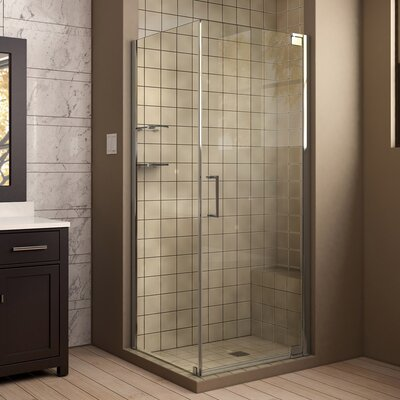 "Elegance 34"" by 30"" Frameless Pivot Shower Enclosure, Clear 3/8"" Glass Shower Product Photo"