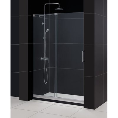 "Mirage 74.75"" x 48"" Sliding Frameless Shower Door and SlimLine 36"" by 48"" Single Threshold Shower Base Product Photo"