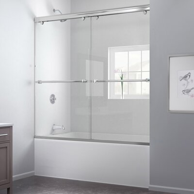 """Charisma 56 to 60"""" Frameless Bypass Sliding Tub Door and QWALL-Tub Backwall Kit Product Photo"""