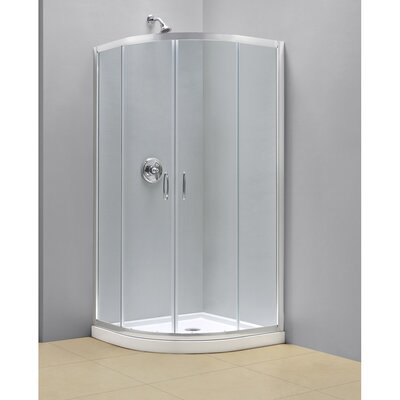 "Prime 34 3/8"" by 34 3/8"" Frameless Sliding Shower Enclosure, 1/4"" Glass Shower Product Photo"