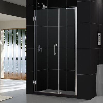 "UniDoor 72"" x 44"" Pivot Frameless Hinged Shower Door Product Photo"