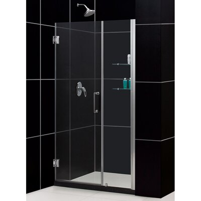"UniDoor 72"" x 48"" Pivot Frameless Hinged Shower Door with 18"" Side Panel and Shelves Product Photo"