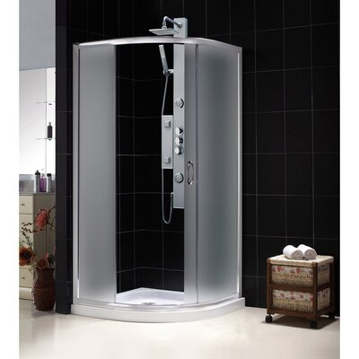 """Solo 31 3/8"""" by 31 3/8"""" Frameless Sliding Shower Enclosure, Base and QWALL-4 Shower Backwall Kit Product Photo"""