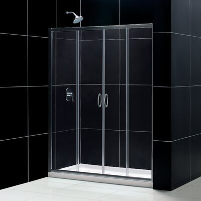 "Visions Frameless Sliding Shower Door, 32"" by 60"" Single Threshold Shower Base Center Drain and QWALL-5 Shower Backwa... Product Photo"