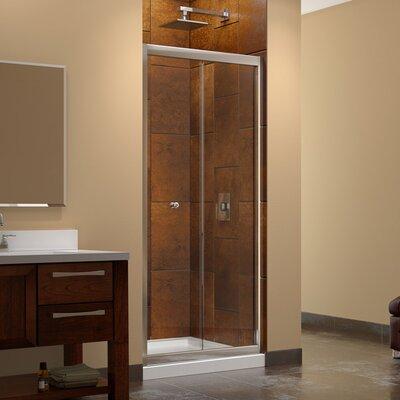 "Butterfly 74.75"" x 32""  Pivot Frameless Bi-Fold Shower Door with SlimLine 32"" and 32"" Single Threshold Shower Base Product Photo"
