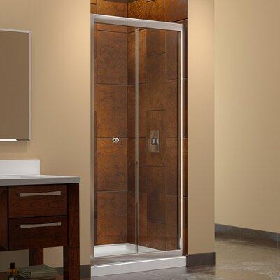 Butterfly Frameless Bi-Fold Shower Door, Single Threshold Shower Base and QWALL-5 Shower Backwall Kit Product Photo