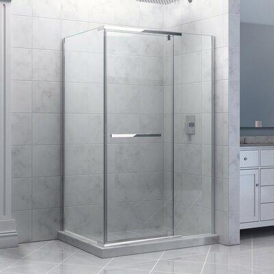 "Quatra 32 5/16"" by 46 5/16"" Frameless Pivot Shower Enclosure, Clear 3/8"" Glass Shower Product Photo"