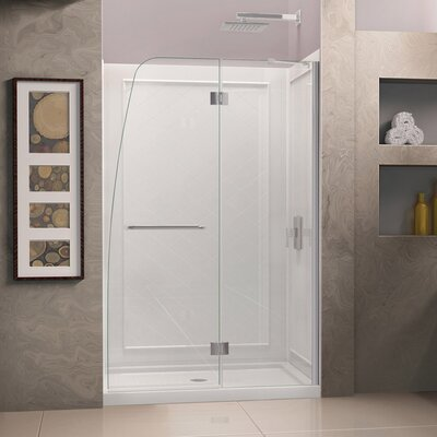 "Aqua 74.75"" x 60"" Pivot Frameless Hinged Shower Door with SlimLine 34"" and 60"" Single Threshold Shower Base Center Drain Product Photo"