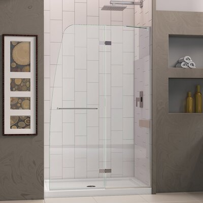 "Aqua Ultra Frameless Hinged Shower Door and SlimLine 30"" by 60"" Single Threshold Shower Base Center Drain Product Photo"