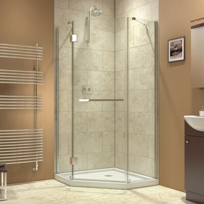 "Prism-X 34 3/8"" by 34 3/8"" Frameless Hinged Shower Enclosure, Clear 3/8"" Glass Shower Product Photo"