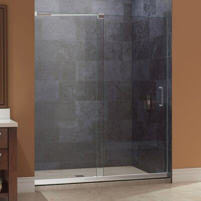 "Mirage 74.75"" x 60"" Sliding Frameless Shower Door with SlimLine 36"" and 60"" Single Threshold Shower Base Center Drain Product Photo"