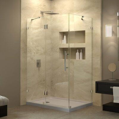 """QuatraLux 32 1/4"""" by 46 5/16"""" Frameless Hinged Shower Enclosure, 3/8"""" Glass Shower Product Photo"""