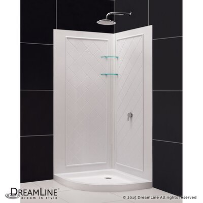 """SlimLine 36"""" by 36"""" Quarter Round Shower Floor and QWALL-4 Shower Backwall Kit Product Photo"""