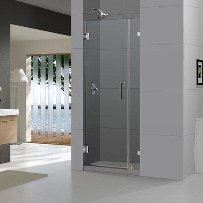 """UniDoor Lux 72"""" x 48"""" Pivot Frameless Hinged Shower Door Product Photo"""