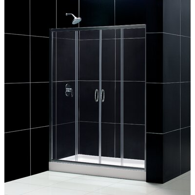 "Visions Frameless Sliding Shower Door, 30"" by 60"" Single Threshold Shower Base Center Drain and QWALL-5 Shower Backwa... Product Photo"