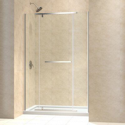 "Vitreo-X 74.75"" x 60"" Pivot Frameless Shower Door with SlimLine 36"" and60"" Single Threshold Shower Base Center Drain Product Photo"