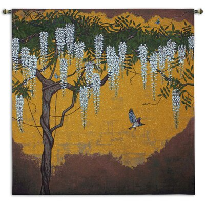 Fine Art Tapestries Wisteria with House Finch Tapestry
