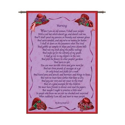 Pure Country Weavers Warning by Jenny Joseph and Elizabeth Lucas Tapestry