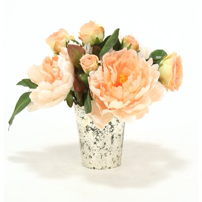Peach Peonies and Roses in Mercury Glass Vase by Distinctive Designs