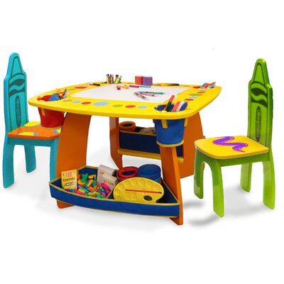 Grow 'n Up Crayola Wooden Kids 3 Piece Table and Chair Set