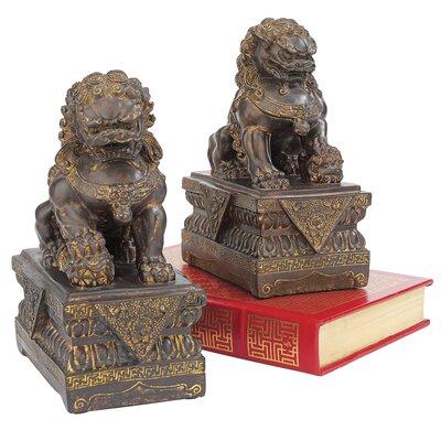 Design Toscano Chinese Foo Dog 2 Piece Guardian Lion Figurine Set