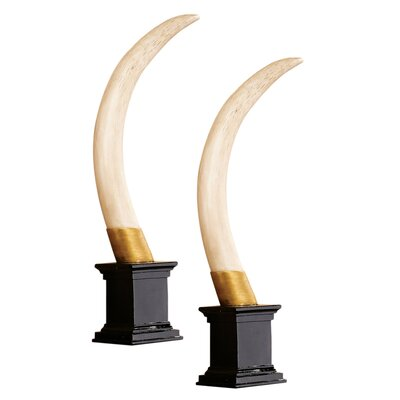 Ilyess Colonial Elephant Tusk Trophy Sculpture by World Menagerie
