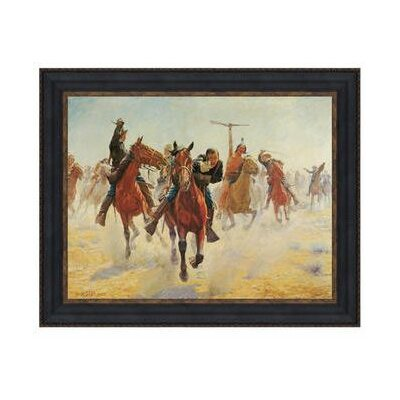 Breaking Through the Line by Charles Schreyvogel Framed Painting by Design Toscano