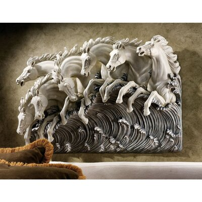 Design Toscano Neptune's Horses of the Sea Sculptural Frieze Wall Décor