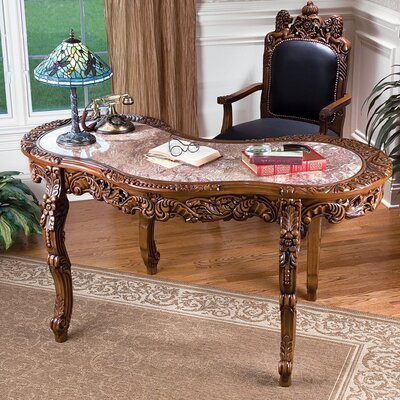 Design Toscano The Mountbat10 Hardwood and Solid Marble Writing Desk