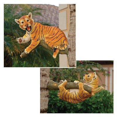 Up a Tree Tiger Cub Statues (Set of 2) by Design Toscano