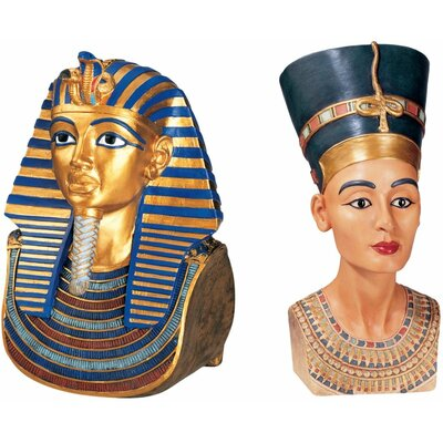 Design Toscano 2 Piece Tut and Nefertiti The Golden Mask of Tutankhamen and Queen Nefertiti Bust
