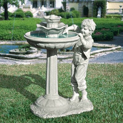 The Child's Mischievous Splash Sculptural Tiered Fountain by Design Toscano