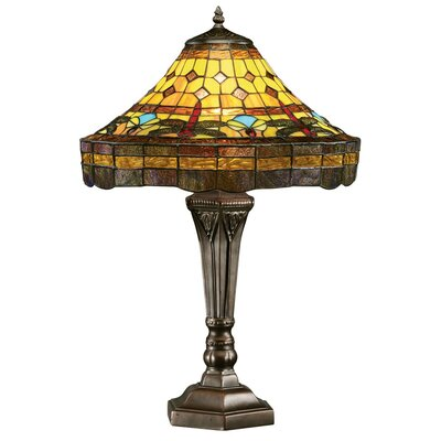 """Design Toscano Dragonfly 23"""" H Table Lamp with Bell Shade"""
