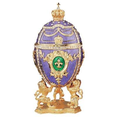 Design Toscano Faberge Style Fleur-de-Lis Enameled Egg