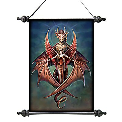 Design Toscano Copperwings Fairy Canvas by Anne Stokes Wall Scroll Tapestry