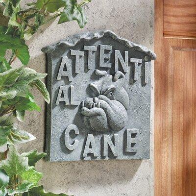 """Design Toscano Beware of Dog Italian """"Attenti al Cane"""" Wall Décor"""