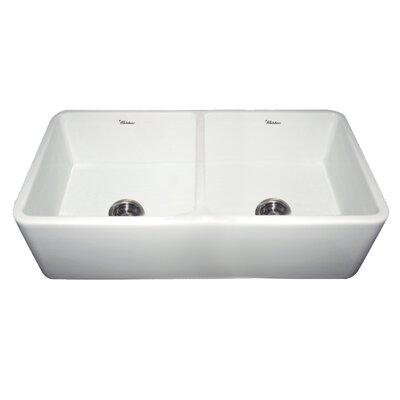 "Whitehaus Collection Duet 36.75"" x 18.5"" Double Bowl Farmhouse Kitchen Sink"