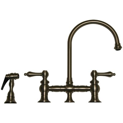 Vintage III Two Handle Widespread Bridge Faucet with Gooseneck Swivel Spout, Lever Handles and Side Spray Product Photo