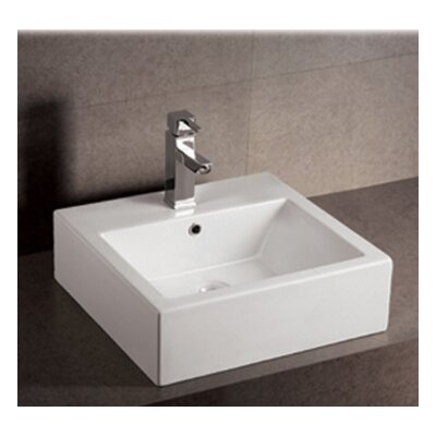 Isabella Square Bathroom Sink with Overflow and Rear Center Drain by Whitehaus Collection