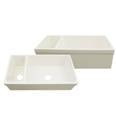 """Quatro Alcove 36"""" x 20"""" Reversible Bowl and Half Fireclay Kitchen Sink Product Photo"""