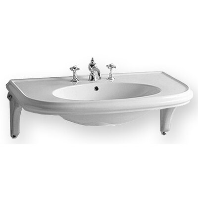 China Wall Mount U-Shaped Bathroom Sink with Ceramic Shelf Supports by Whitehaus Collection